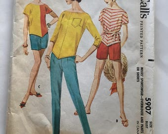 60s McCalls 5907 Sportswear Walking Bermuda Shorts, Slim Pants, OverBlouse with Bateau Neck, Elbow Sleeves or Short Sleeves  Size 14 Bust 34