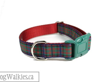 """MacDonald Tartan Dog Collar // 1"""" (25mm) wide // Plaid Dog Collar // Quick Side Release or Martingale Collar // Choice of size and style"""