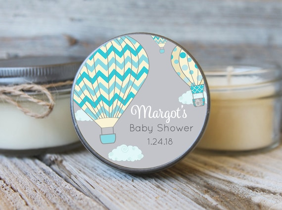 Set of 12 - 4 oz SoyCandle Favor//Hot Air Balloon Baby Shower//Girl Baby Shower//Boy Baby Shower//Balloon Baby Shower/Baby Shower Favor