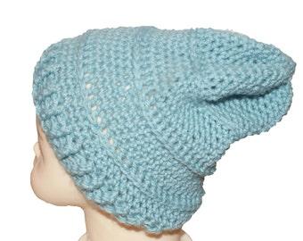 Blue Kids Hat, Blue Baby Hat, Kids Beanie, Blue Crochet Hat, Childs Winter Hat, Kids Slouch Hat, Childs Slouch Beanie, Blue Winter Hat