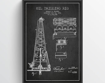 1916 Oil Drilling Rig Patent Wall Art Poster, Oil Drilling Poster, Texas Art,  Home Decor, Gift Idea, PFEN01P