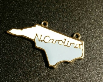 Carolina Blue and White Enamel North Carolina Pendant