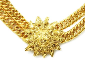 Authentic Vintage Chanel Gold Plated Lion Motif Double Chain Necklace/Choker