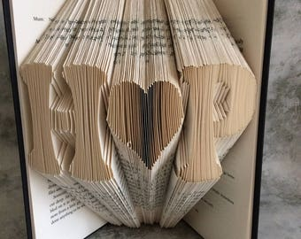 Folded Book Art, Personalised, Initials