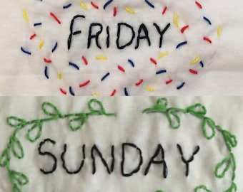 Day-of-the-Week hand-embroidered panties