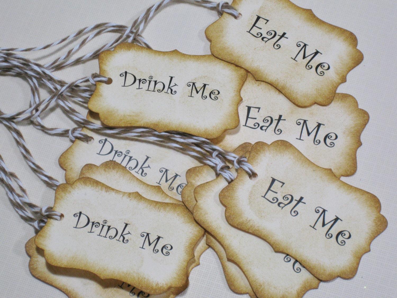 10 Eat Me Drink Me Paper Tags Vintage Alice in Wonderland