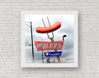 Wolfy's - Chicago Hot Dog Art - Vintage Photography Print 8x8 sign photo