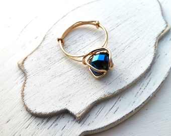 Handmade Wire Wrapped Ring With Blue Crystal Size 5.5 Gold Color Non-Tarnish Wire 18 Guage