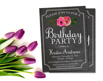Floral Birthday Invitation - Shabby Chic Chalkboard Party Invites, Printable Digital File, Any Age