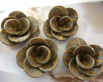 GOLDEN SPIRAL FLOWERS AND SILVER POLYMER