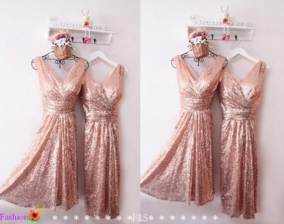 Short Sequin DressRose Gold Prom DressShort Sparkly Sequin