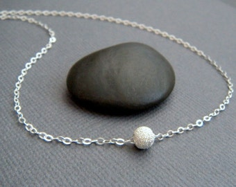 tiny bead necklace. small round ball sterling silver necklace. classic modern jewelry dainty everyday necklace gift for her. stardust 5 mm