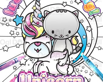 Unicorn Coloring Page, Digital Download Colouring Sheet, Unicorn Kitty Ride Colouring Page, A4 Kawaii Unicorn Coloring, kids Colouring Sheet