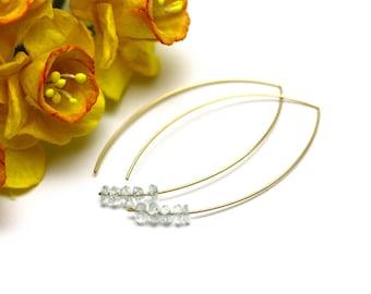 Stunning Aquamarine Gemstone Earrings on Hammered Gold   Minimal Marquise Earrings   Modern, Simple, Elegant Jewelry   Handmade by Azki