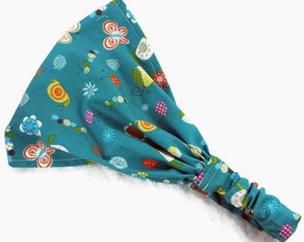 READY TO SHIP Baby bandana teal bugs 18-24M, baby girl bandana, toddler bandana, child hair wrap, bikers headband, wide headband cotton gift
