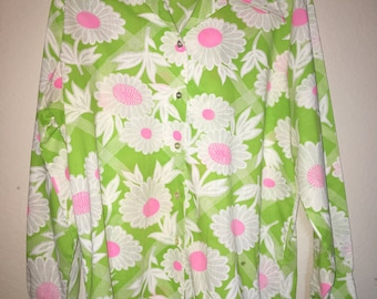 60s/70s Lime and Pink Flower Button Down