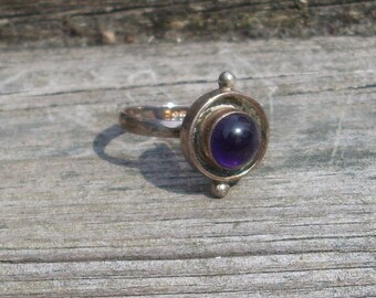 Outer orbit Ring  Purple Amethyst