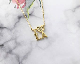 Gold I Love L.A Dainty Necklace