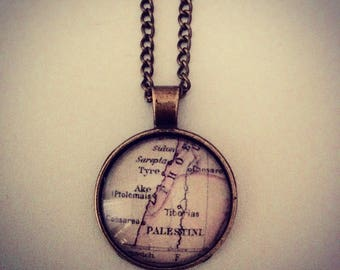 Vintage Palestine Map Necklace - Handmade Unique Inspirational (FREE or LOW COST shipping)