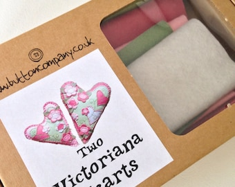 Wool felt kit 2 victoriana hearts complete kit