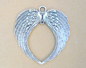 large wings steampunk 75x70mm connector silver angel wing charm pendant