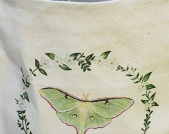 """Luna Moth Grocery Bag - Cotton Tote - """"Be your own kind of beautiful."""""""
