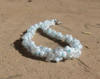 N-37 Icy Blue Beaded Kumihimo Woven Beaded Necklace, Choker Necklace, Kumihimo Necklace, Beaded Necklace, Seed Bead Necklace