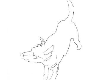 dog art - giclee print 8X10 - gestural expressive pen ink line drawing