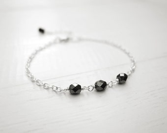 Small chain bracelet minimalist bracelet metallic grey bead bracelet sparkly bracelet for women