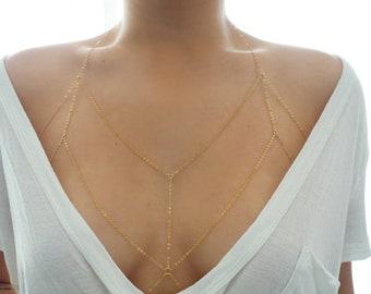 14k Gold Dainty Chain Bralette Halter Top Body Chain/ Dainty Gold Body Chain / Gold Body Chain / Body Chain/Dainty Jewelry