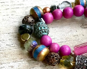 Boho Chic Tribal Gypsy Beaded Bracelet Set Bright Blue and Fuchsia For Her Under 230 One of a Kind