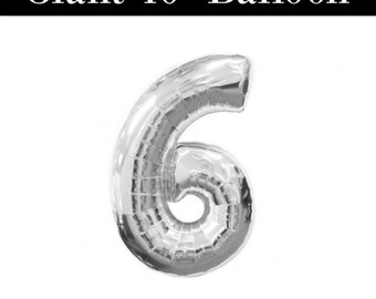 """Number 6 GIANT Silver 40"""" Balloons - 6th Birthday Balloons"""