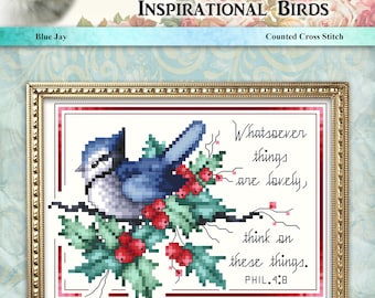 Inspirational Birds Blue Jay Counted Cross Stitch Pattern