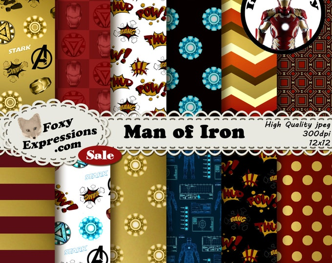 Man of Iron digital paper inspired by Marvel Comics Iron man. Designs include Iron mans colors, Arc Reactor, J.A.V.I.S., Advengers, & more