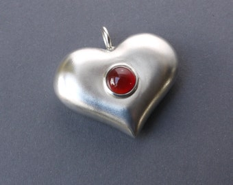 Silver Heart pendant with Carnelian, Valentine's Gift, Love & Friendship