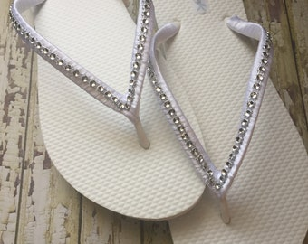 Vanessa Bridal Flip Flops, Custom Flip Flops, Bling Dancing Shoes, Gem Bridal Sandals, Rhinestone Wedding Flip Flops, Beach Wedding, Shoes