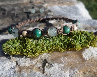 "Bracelet ""heart trouble"" chrysocolla, phrenite, and wood beads"