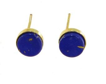 Lapis Earrings, 14K Gold Earrings, Lapis Stud Earrings, Lapis Studs, Gold Lapis Earrings, Lapis Jewelry, Gold Jewelry, Gift For Her