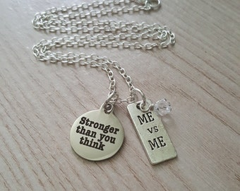 Stronger than you think Charm Necklace, Fitness Motivation, Workout, Gift for Fitness Junkie, Coach Gift, Trainer Gift, Lifting Jewelry