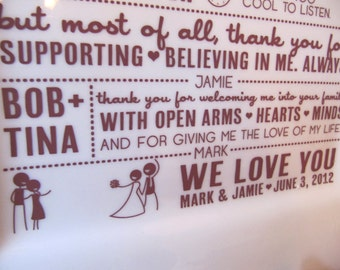 Parent Wedding Gift--Thank You Platter from Bride and Groom RUSH LISTING