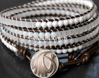 Leather Wrap Bracelet, White Wrap Bracelet, Lung Cancer Bracelet, Leather Beaded Wrap Bracelet, Wrap Bracelet, Beaded Wrap Bracelet