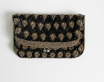 Elegant Vintage Black Satin Beaded Fold Over Clutch Evening Bag Purse