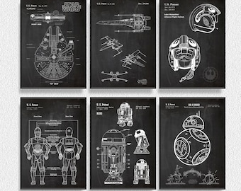 Star Wars Droid Patents Set of 6 Prints, Star Wars Prints, Star Wars Posters, Star Wars Blueprints, Star Wars Art, Star Wars Wall Art