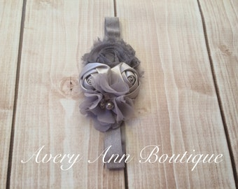 Grey Headband, Girl Headband, Flower Girl Headband, Baby Grey Headband, Newborn Grey Headband, Flower Headband, Shabby Chic Headband