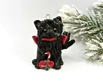 Black Cat Persian Porcelain Christmas Ornament Figurine Toy Mouse  Clay