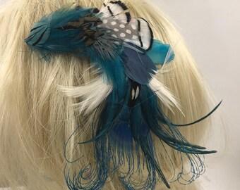 Magical Sensual Aqua Blue Feather Hair Clip, Pastel Feather Hair Barrette, Hat Hair Lapel Feather Clip, Feather Hair Accessory,Feather Clip