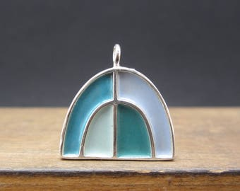 Half Dome Necklace - New Century Modern - Blue and Brown Reversible Enamel Necklace