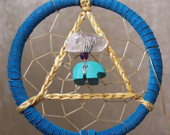 SERENITY BEAR - 3 Inch Dreamcatcher in Turquoise and Purple by Feathered Dreams