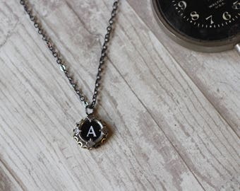 Typewriter Key Necklace, Writer Necklace, Teacher Jewelry, Initial A