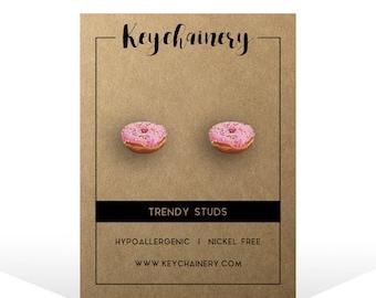 Pink Donut Stud Earrings - Junk Food Earrings - Donut Stud Earrings - Donut Jewelry - Donut Earrings - Cute Donut Gifts